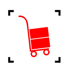 Hand truck sign red icon inside black vector