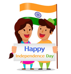 Independence day in india indian man and woman vector