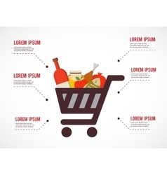 Infographics of shopping cart with rosh hashanah vector