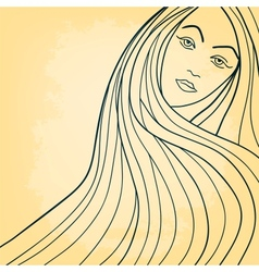 Long-haired girl drawing card vector image vector image