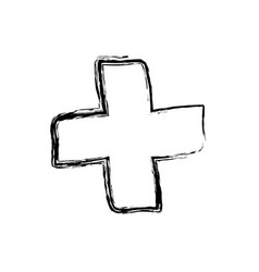 Monochrome hand drawn sketch of medical cross vector