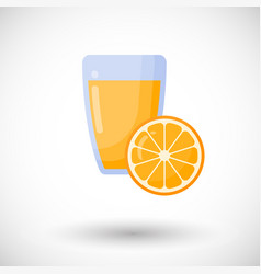 Orange juice flat icon set vector