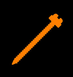 Screw sign orange icon on black vector