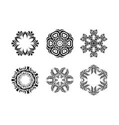 Set of Arabic mandala on white background vector image vector image