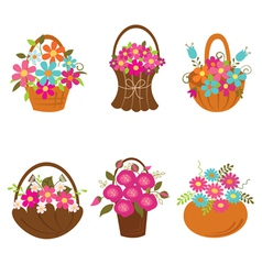 Set of basket of flowers vector image vector image