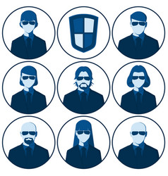 set of flat avatars for the security agency vector image