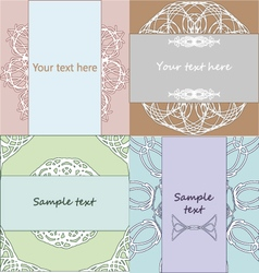Set of vintage lacy wedding invitation templates vector