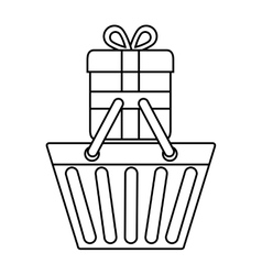 Shopping basket gift icon graphic vector