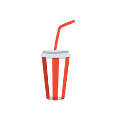 soft drink in a red paper cup with lid and straw vector image