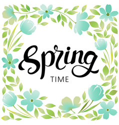 Spring wreath frame vector