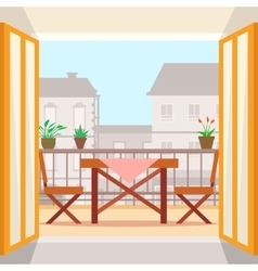 Table and chairs on the balcony vector image vector image