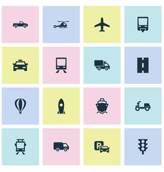 Transportation icons set collection of chopper vector