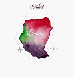 Travel around the world sudan watercolor map vector