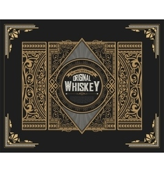 Whiskey label with old ornaments layered vector image