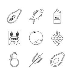 White background with monochrome set of foods vector
