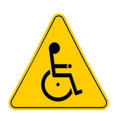 yellow triangle warning signs with handicapped vector image