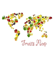 Fruits world map design element vector