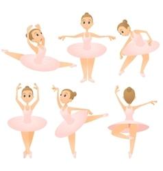 Ballerina girl concept set cartoon style vector image