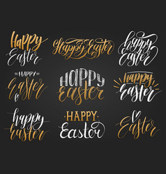 Happy easter handwritten lettering setreligious vector