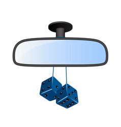 Car mirror with pair of blue dices vector