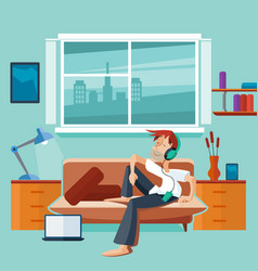 flat interior with man on sofa vector image