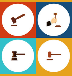 Flat icon court set of law justice government vector