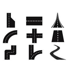 roads set vector image