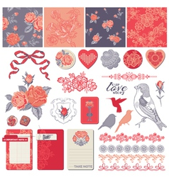 Design Elements - Vintage Roses and Birds vector image