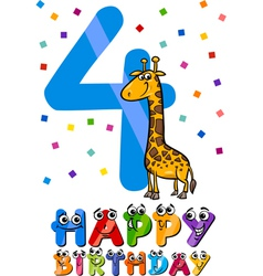 Fourth birthday cartoon design vector