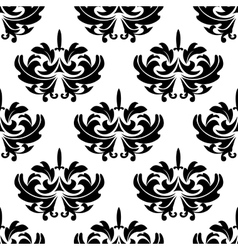 Damask style arabesque pattern with a floral motif vector image