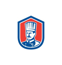 Chef cook baker shield retro vector