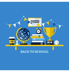 Back to school flat with desk and school supplies vector
