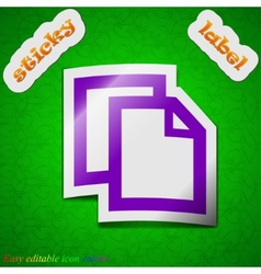 Text document icon sign symbol chic colored sticky vector
