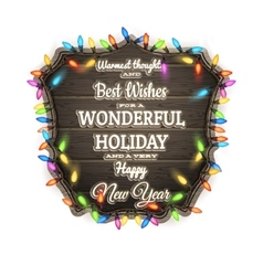Wooden board with christmas attributes eps 10 vector