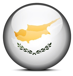 Map on flag button of republic of cyprus vector