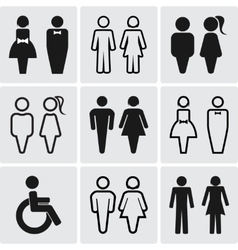 Restroom silhouettes icon set vector image