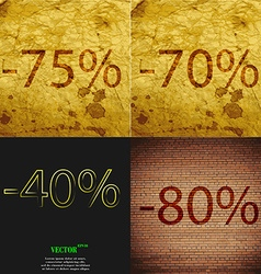 70 4080 icon set of percent discount on abstract vector
