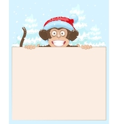 Christmas monkey holding white banner monkey vector
