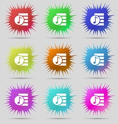 Audio mp3 file icon sign nine original needle vector
