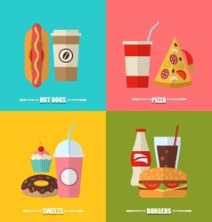 Set fast food hotdog cola flat icons vector