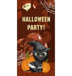 Halloween party card with cat vector