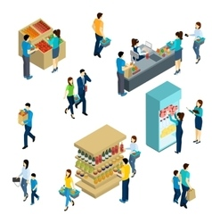 Isometric people shopping vector