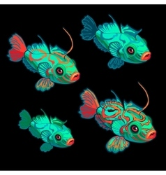 Green-red tropical fish four icon cartoon vector