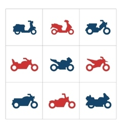 Set color icons of motorcycles vector