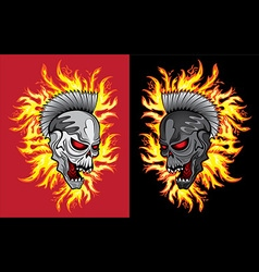 Punk metal skull fire flames background vector