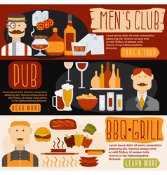 Flat design banners with mens clubbbq and pub vector