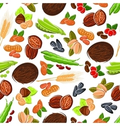Seamless cartoon nuts beans seeds wheat pattern vector