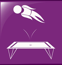Sport icon design for trampoline on purple vector