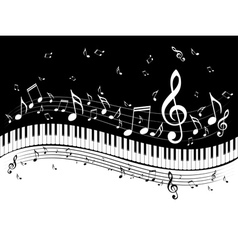 Piano keyboard with music notes vector
