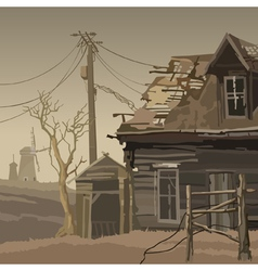 Abandoned village with a ruined house and mills vector